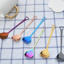 StainleSS Steel collection online shopping - Heart Shape Stainless Steel Spoon Colorful Coffee Soup ice Cream Sugar Spoon wedding gift collection kicthen tool FFA266 COLORS