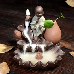 Wholesale Little Monk Small Buddha Censer Home Decor Ceramic Smoke Backflow Incense Burner Holder Incense Cones