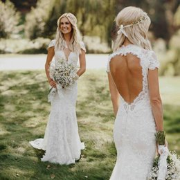 China 2018 Berta Bohemian Cap Sleeved With Pearls Mermaid Wedding Dresses Backless Sweep Train Garden Beach Bridal Gowns cheap short sleeved lace wedding dress suppliers