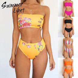 69a3168231ae3 High waist bikini 2019 High cut swimsuit Solid plus size swimwear women  bathers Bandeau bathing suit Brazilian two-piece suit xl