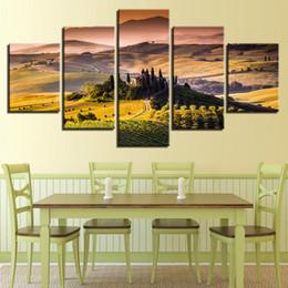 $enCountryForm.capitalKeyWord NZ - Canvas Poster Living Room Decor Wall Art Framework 5 Pieces Castle Pastoral Landscape Paintings Prints Vintage Mountain Pictures