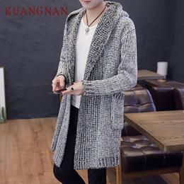 Mens Hooded Cardigan Sweaters NZ - KUANGNAN Solid Long Cardigan Men Sweater  Knit Winter Hooded Cardigan 2f38c701c