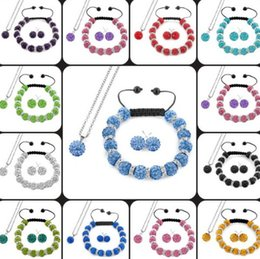 $enCountryForm.capitalKeyWord Australia - can choose mix multicolor white 10mm Fashion Crystal crystal Set Pendant necklace Bracelet Earring Jewelry With Disco Balls