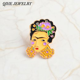 QIHE JEWELRY Mexican Flower Crown Frida Kahlo Self-portrait pins Hard  enamel lapel pin Badges Brooches Frida Kahlo jewelry b0d968a6205