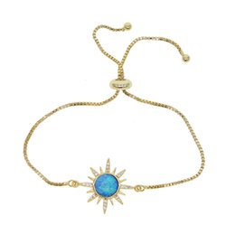 gold plated bracelet charms Canada - gold plated blue fire opal sun burst adjust bracelet box chain starburst charm elegant geomstone gold filled fashion jewelry for women