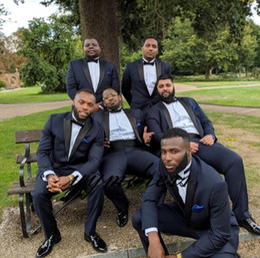 Beige Slim Suits For Men Australia - Classy Navy Blue Wedding Tuxedos Mens Suits Slim Fit Bridegroom For Men 3 Pieces Include Jacket +Pants + Bow Groomsmen Suit Formal Business