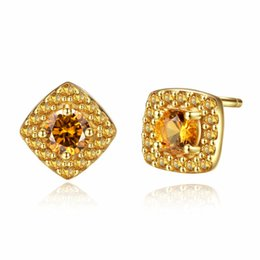 $enCountryForm.capitalKeyWord UK - 925 Sterling Silver Citrine Stud Earrings for Women Yellow Crystal 18K Gold Plated Women Earring Jewelry Orecchini SE0116