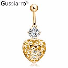 Gussiarro 2017 Lindo Corazón de Oro-Color Claro AAA Cristal Anillos de Ombligo Ombligo Piercing Ombligo Body Jewelry Percing Regalo del cuerpo