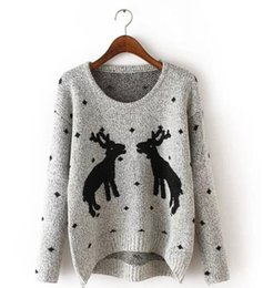 reindeer color Australia - New Women Warm Sweaters Western Christmas Reindeer Snow Deer Embroidery pullover Long Sleeve loose Knit Pullover