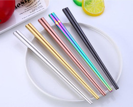 Brillantes palillos dorados de titanio chapados en titanio, coloridos palillos de acero inoxidable, palillos cuadrados de oro de buena calidad RainbowSN1164 en venta