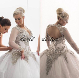 $enCountryForm.capitalKeyWord NZ - Plus Size Modest Long Sleeves Wedding Dresses Rhinestones Crystals Beaded Bridal Gowns Backless Sheer Ball Gown princess Wedding Dresses