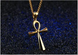 $enCountryForm.capitalKeyWord Canada - Personality Carving Smooth Stainless Steel Ancient Egypt Cross Men Pendant Necklaces Simple Jewelry for Mens