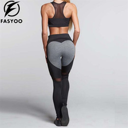 f969c968f67fa FASYOO Woman Elastic Big Heart Shape Workout pants Breathable Yoga leggings  Fitness Running Gym Sport Trousers