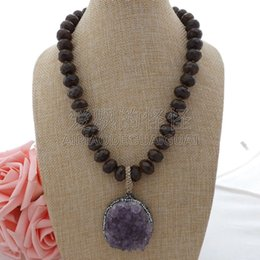 "Flower Druzy Canada - N013007 19"" Faceted Bronzite Necklace Purple Gems Druzy Pendant"