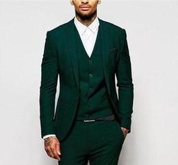 Toptan satış 18 Yeşil Resmi Düğün Erkekler Groomsmen Giymek için Suits Üç Parçalı Trim Fit Custom Made Damat Smokin Akşam Parti Suit Ceket Pantolon Yelek