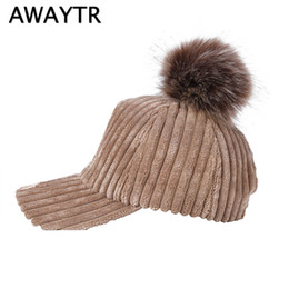 42f84ddf09d AWAYTR Corduroy Baseball Cap for Women Autumn New Winter Hats Caps Fur Ball  Pompoms Warm Cap Adjustable Casual Snapback Hat