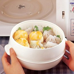 microwave cookware NZ - Healthy White Portable Microwave Steamer With Lid Plastic Cooking Tools Food Cookware Storage Boxes 20*11cm free shipping