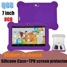 "android tablet pc white NZ - Children Tablet PC 8GB 512 MB Quad Core A33 7""Tablet Android 4.4 2300mAh 1.3GHz Google Player Tablet With Silicone Cover+Screen Protector"