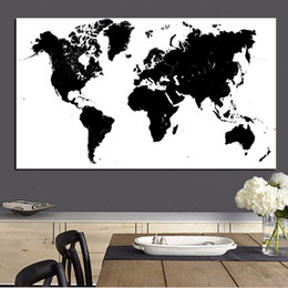 canvas wall art world map NZ - Large Size Abstract Black and White World Map Modern Painting on Canvas Poster Print Wall Art Picture for Living Room Cuadros