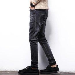 9cbc2e512b9fc Wholesale- Man Fat jeans men plus size elastic jeans slim ankle banded denim  pants