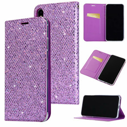 bling note NZ - Bling Sparkle Leather Wallet Case For Iphone XR XS MAX X 10 8 7 6 SE 5 5S Galaxy Note 9 8 S9 S8 Glitter Magnetic Closure Suck Flip Cover