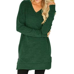 winter t shirts long neck UK - Irregular V-neck T-shirt Autumn Loose Women Top Winter Casual Solid Tee Plus Size Female Long Sleeve Pockets Shirts Blusas GV206