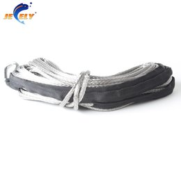 Winches For Atv Canada - 8mm*15meter 11684lbs UHMWPE Braid Synthetic Winch Rope with S.S Thimble for ATV UTV SUV 4X4 4WD