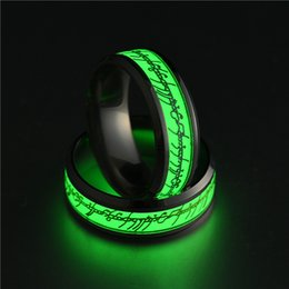 ring light fluorescent wholesale UK - New Stainless steel Lord of Ring Fluorescent Glowing Logo Finger Rings Glow In The Dark Gold Silver Pattern Rings Night Glowing light