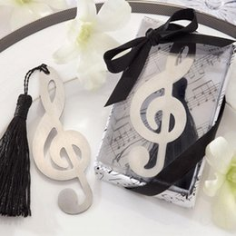 Music Stationery Gifts Australia - Wholesale 20PC Music Note Bookmarks With Tassel Metal Bookmark Stationery Party Favor Birthday Gifts Wedding Gifts