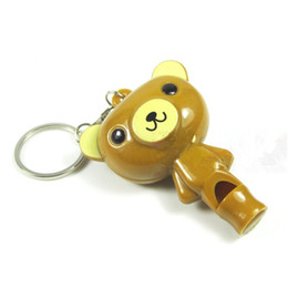 keychain whistles for wholesale UK - Cute Multi-function LED Cartoon Animal Keychain Teddy Bear Keyring with Whistle Creative gift flashlight For Children Free Shipping Q0780