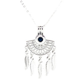 AromAtherApy fAns online shopping - Bright Silver Fan Shapes Filigree Bohemian Leaf Essential Oil Diffuser Locket Aromatherapy Beads Pearl Oyster Cage Necklace Pendant