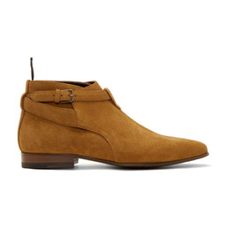 Motorcycle Boots 46 Canada - Suede Genuine leather Spring Booties Men Shoes Ankle Buckle Chelsea Boot Flats Plus Size 38-46 Real Pics Men's Wedding Boots Western Wyatt