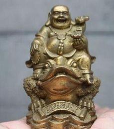 Brass Happy Buddha Australia - WBY---512+++China Brass Copper Yuan Bao Happy Laugh Maitreya Buddha Ride Toad Statue
