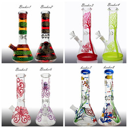 hitman bongs Canada - 12'' Hitman Beaker color Glass Bong -import color combine paw logo different color bongs 1.2kg heavy Zob glass water pipe for herb