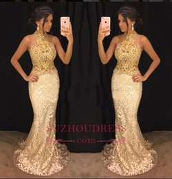 White shiny lace mermaid dress online shopping - 2018 New Elegant Gold Lace Appliqued Mermaid Prom Dresses Halter Neck Shiny Sleeveless Formal Dresses Evening Wear Party Gowns BA8282