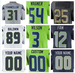 3d56cc28f Seattle Seahawk Jersey NZ - 2019 Seattle Shaquem Griffin Bobby Wagner  Seahawk jerseys Steve Largent green