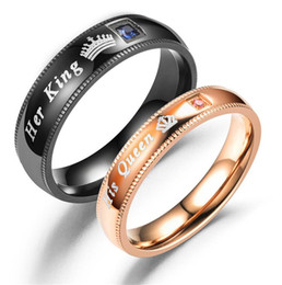 $enCountryForm.capitalKeyWord NZ - Wedding Rings Sets Black Rose Gold Stainless Steel Rings For Men Women New Arrival Engagement Rings