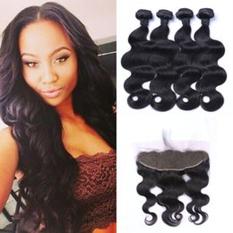 brazilian virgin hair body wave frontal 2019 - 4pcs Virgin Body Wave Human Hair Bundles With Lace Frontal Closure 13*4inch Pre Plucked Free Part Unprocessed Human Hair
