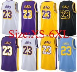 Cheap 2018-19 New  23 LeBron James Jersey Mens Purple yellow white black  Suture the city Basketball Jerseys Big And Tall XS bfc4778aa