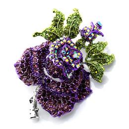 $enCountryForm.capitalKeyWord Canada - Bridal Rose Flower brooch Women Best Wedding Accessories Esmalte Enamel Pin Brooch Colares Violetta Purple Brooch Broches
