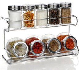 $enCountryForm.capitalKeyWord Australia - Kitchen Glass Storage Spice Jar Bottle Seasoning Storage With Holder Rack Kitchen Container