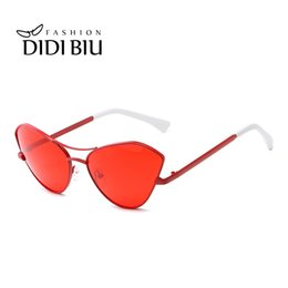 02dcdf477af Korean Cat Eye Red Sunglasses Women Brand Designer Fashion Thin Metal Frame  Sun Glasses Female Gradient Lens UV400 Shades WN1029