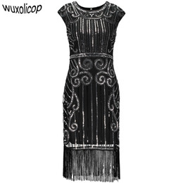 Chinese  1920s Vintage Inspired Sequin Embellished Fringe Long Gatsby Flapper Dress O-Neck Cap Sleeve Geometric Fancy 20s Party Dress manufacturers