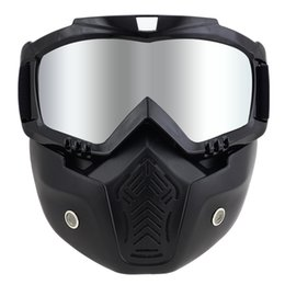 Discount helmet half face mask - Hot Sales Modular Mask Detachable Goggles And Mouth Filter Perfect for Open Face Motorcycle Half Helmet or Vintage Helme