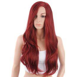 AISI HAIR largo rojo ondulado rizado traje pelucas de pelo para mujeres peluca  sintética a prueba de calor con casquillo de la peluca 50a9b7ca027a