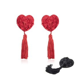 Wholesale breast black bra resale online - Red Black exy Women s Nipple Covers Heart Shape Rose Breast Petals Tassel Pasties Bra Lingeries