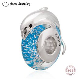 Wholesale Haha Jewelry Summer Ocean Series Jumping Dolphin on Blue Sea Glass Charm Sterling Silver Animal Bead for Pandora Charms Bracelet Making