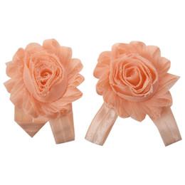 Горячие продажи детские ноги цветок браслет босиком сандалии складки шифон цветок носки обложка босиком оранжевый на Распродаже