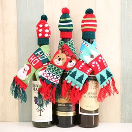 Wine Party Decorations NZ - Santa Claus Knitting Hats and Scarf for Champagne Wine Bottle 2pcs set Xmas Home Party Table Decorations Christmas Decoration Gifts