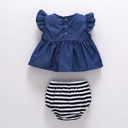 Denim infant clothing online shopping - Hot baby girl bodysuit denim tops striped shorts outfits set summer sunsuit M infant girls denim dress PP shorts set clothes